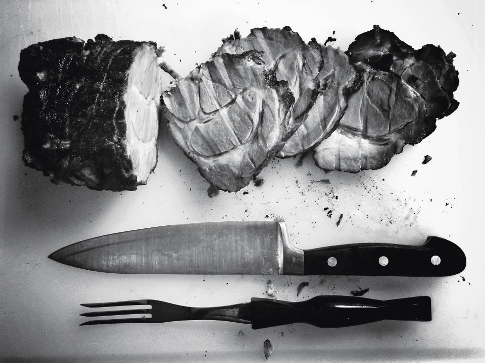 roast, meat, butcher, knife, fork, cutting board, chef, kitchen, food, black and white