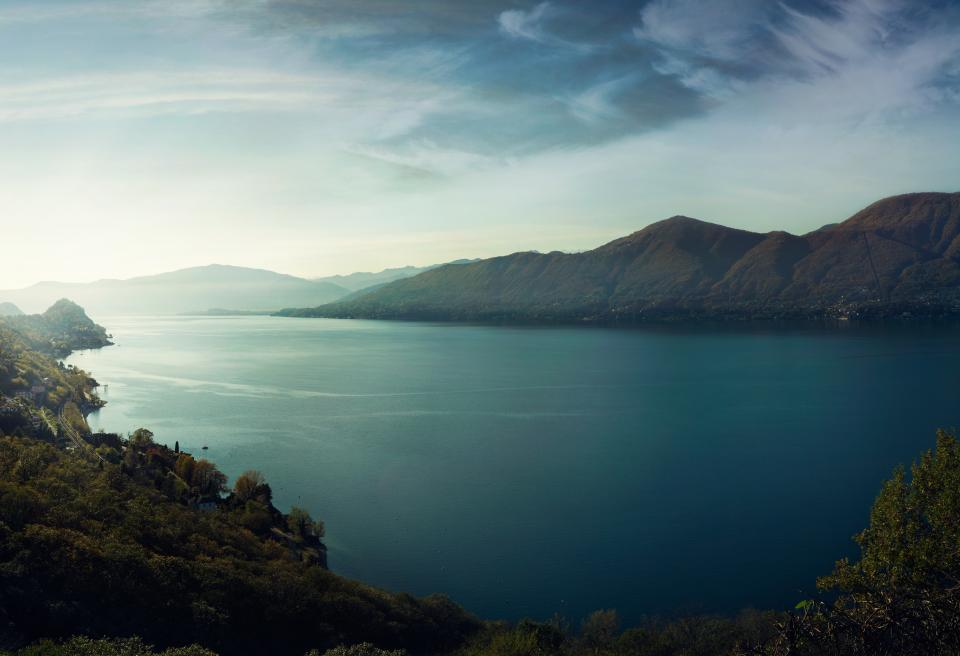 sky, hills, lake, nature, outdoors, valley, water, trees, mountains, clouds