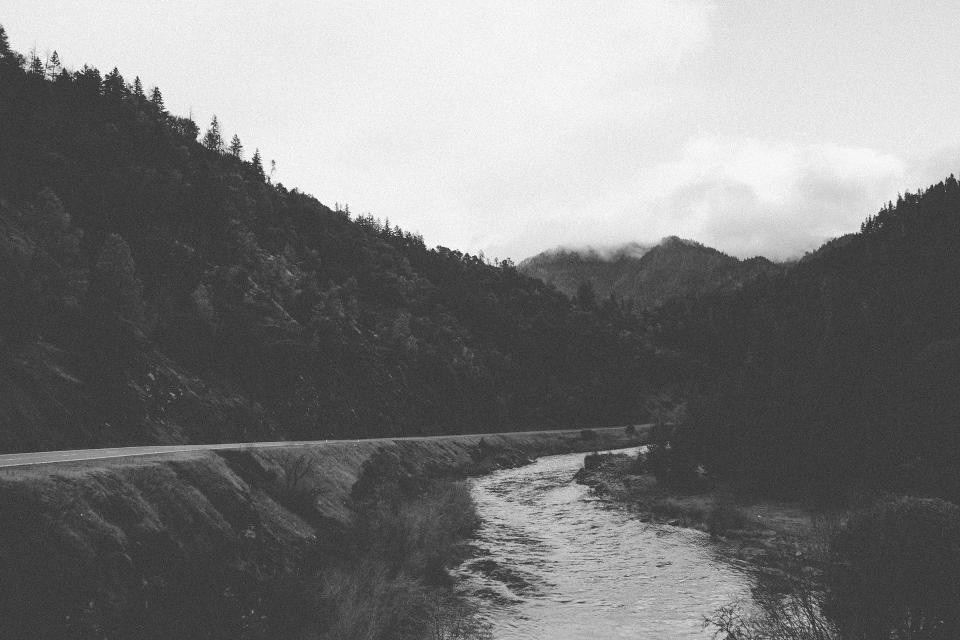 landscape, river, water, road, rural, mountains, hills, trees, nature, fog, sky, clouds, black and white