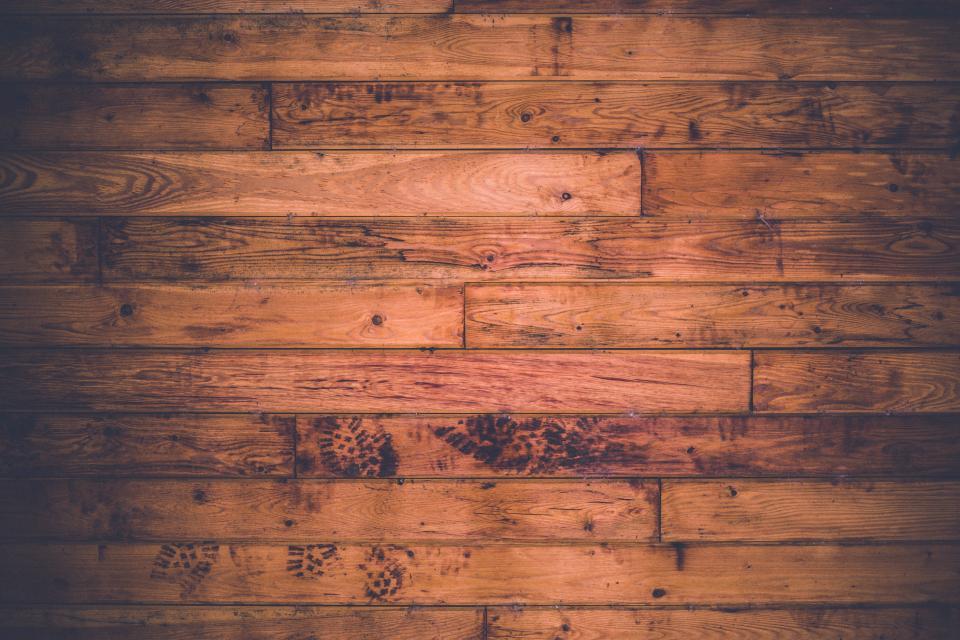 wood, floor, hardwood, footprints, planks
