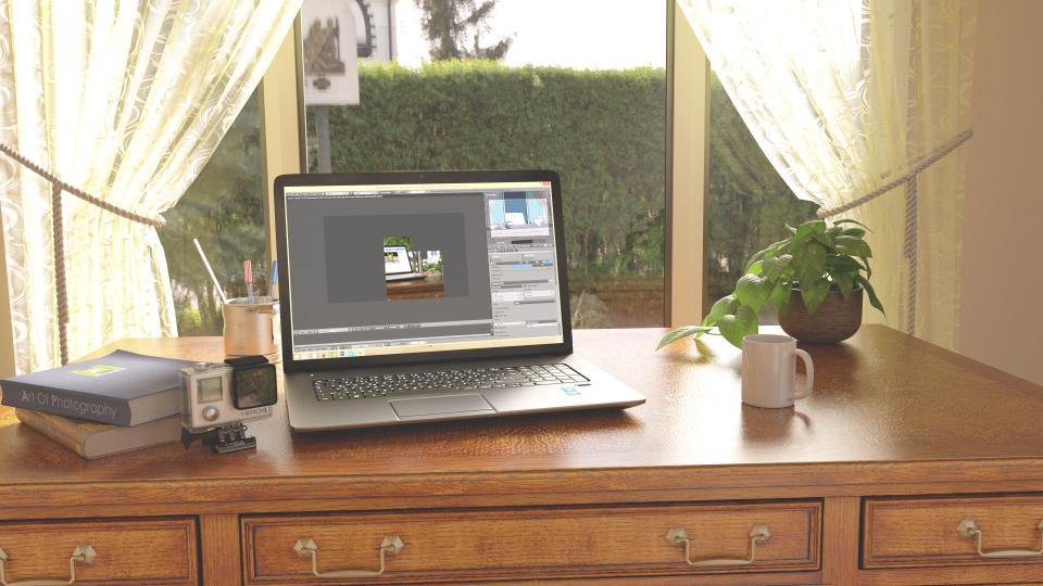 office, work, business, workspace, table, desk, technology, laptop, computer, design, photoshop, holder, pens, pencils, gopro, camera, coffe, mug, plant, pot, books, bay, window, curtains, glass, panels, view, bushes, signs, still
