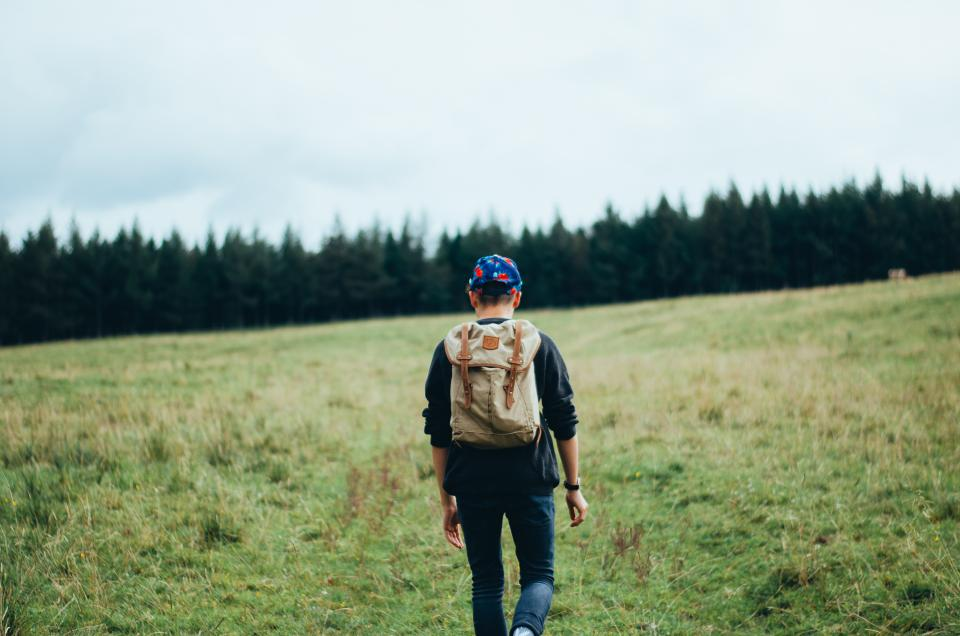 backpack, young, guy, walking, grass, field, trees, jeans, sweater, hat
