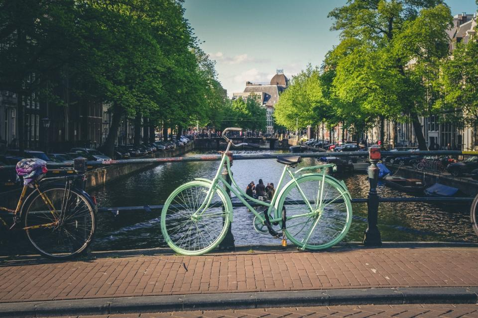 bikes, bicycles, canal, bridge, cobblestone, city, town