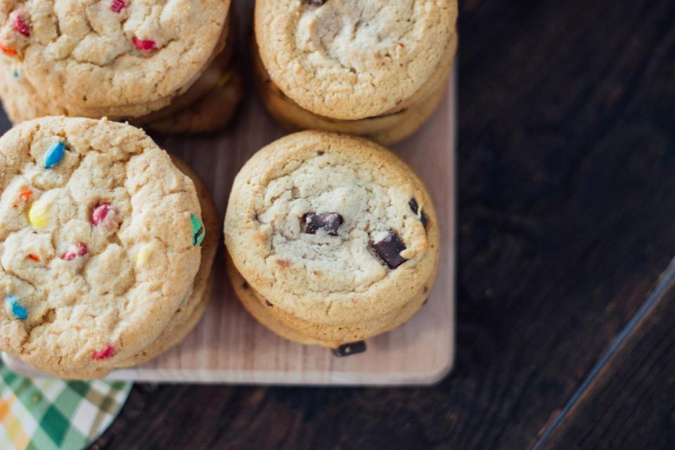 cookies, sweets, treats, dessert, baking, chocolate chip, smarties, m&ms, food