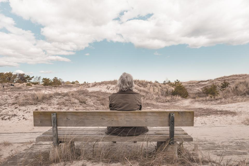 woman, sitting, bench, sand, beach, sky, clouds, sunny, people