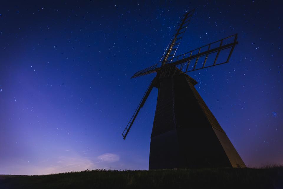 windmill, stars, galaxy, space, purple, sky, silhouette, dusk, night, evening, nature, rural