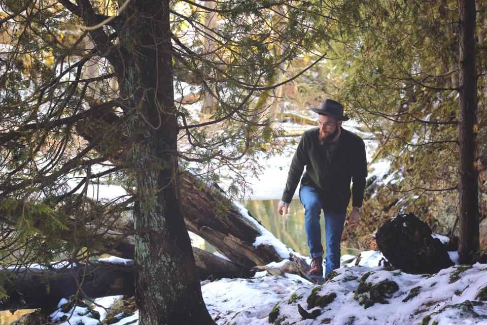 fedora, guy, man, forest, woods, nature, snow, winter, river, beard, fedora, people