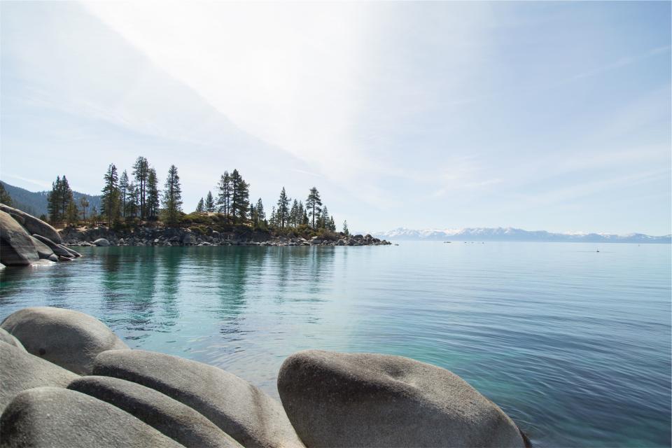lake, water, rocks, trees, mountains, nature, landscape, blue, sky, sunny, sunshine