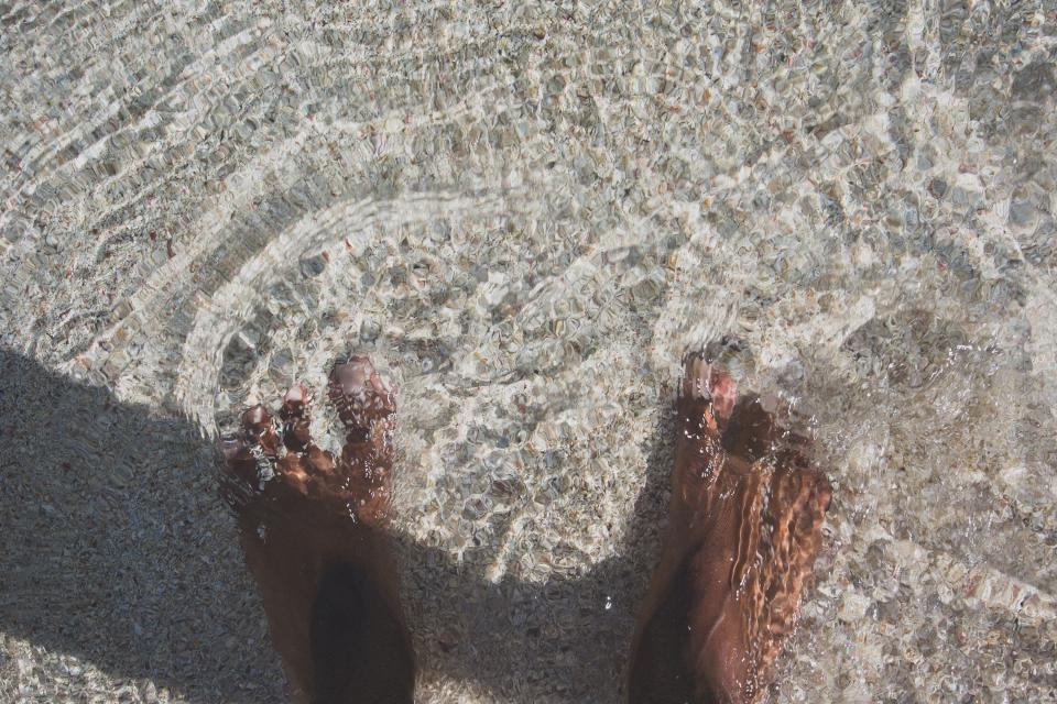 feet, barefoot, toes, water, beach, sand, summer, ocean, sea, shore