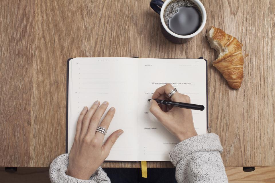 journal, notepad, notebook, pen, writing, hands, office, desk, business, working, coffee, cup, mug, croissant, food