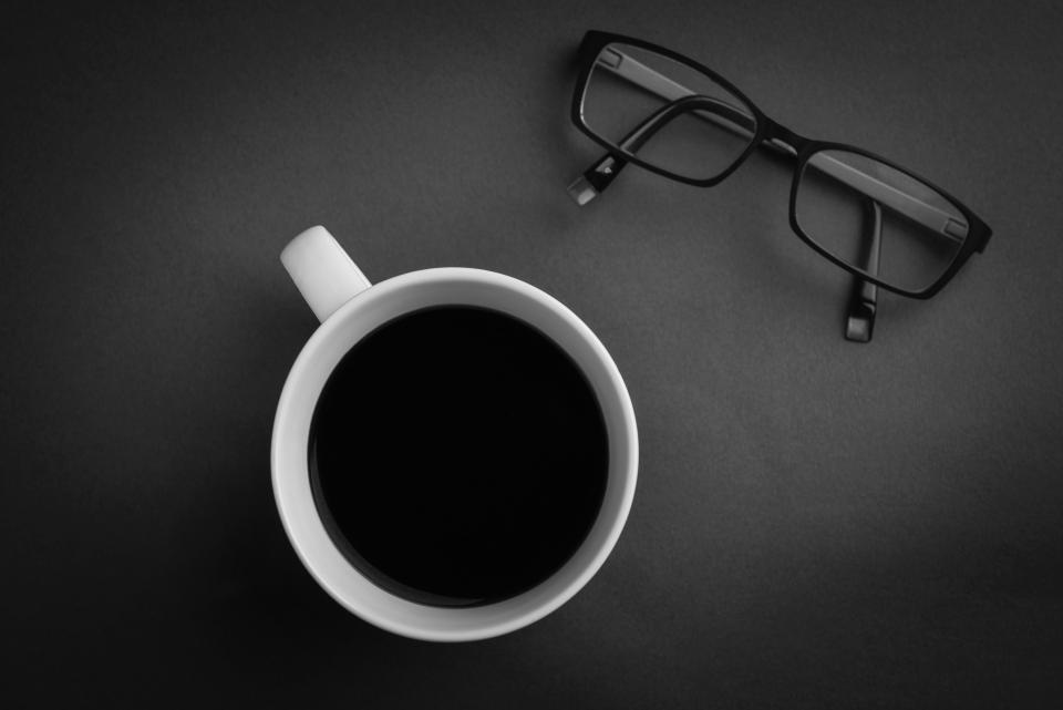 coffee, cup, eyeglasses, objects, mug, black and white