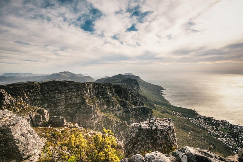 mountains, coast, ocean, sea, cliffs, landscape, nature, outdoors, sky, clouds, rocks