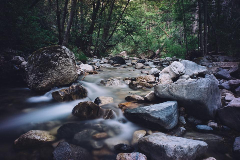 river, stream, water, rocks, boulders, outdoors, nature, trees, forest