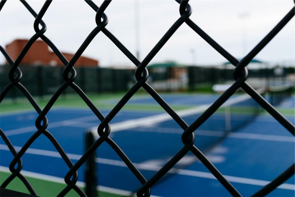 chainlink, fence, tennis, court, sports