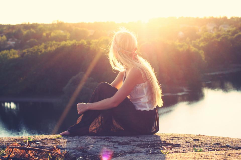 girl, blonde, long hair, pretty, beautiful, people, sunset, looking, watching, river, water, trees, nature