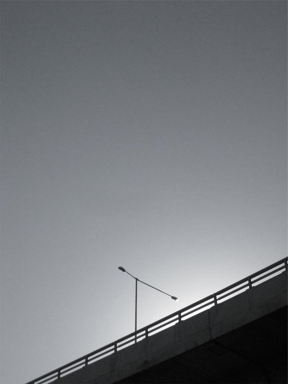 overpass, lamp post, black and white