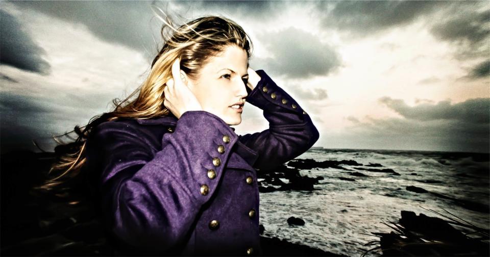 girl, woman, model, pretty, beautiful, model, blonde, long hair, purple, jacket, fashion, ocean, sea, water, waves, sky, clouds, sunset