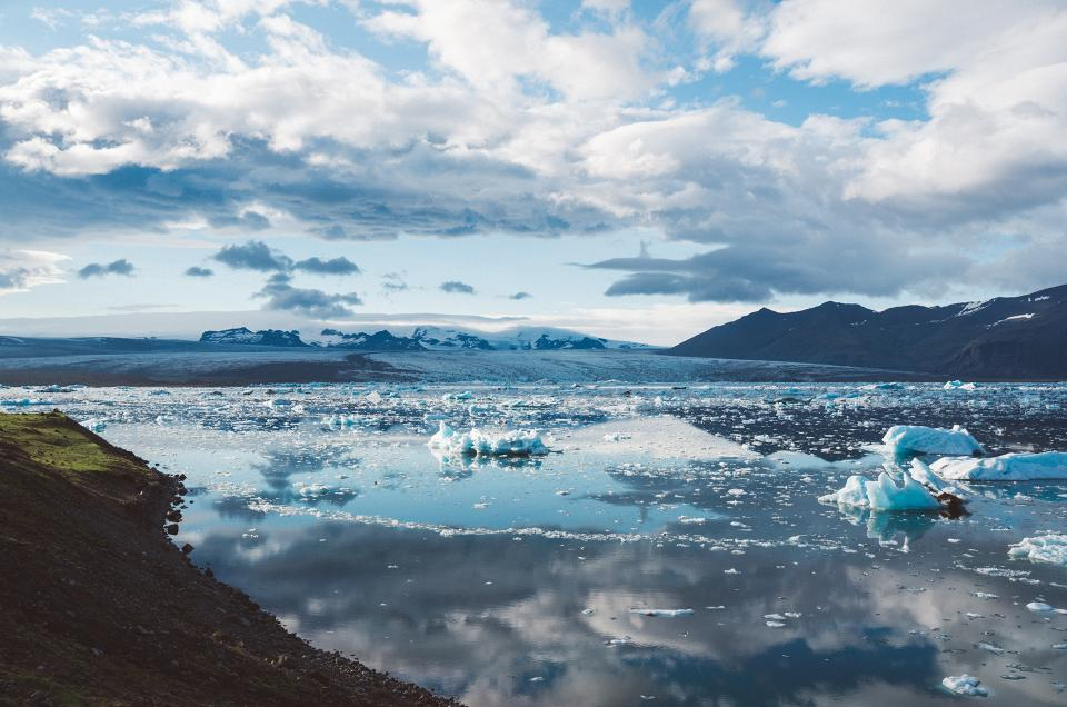 landscape, mountains, glaciers, ice, snow, water, reflection, sky, clouds