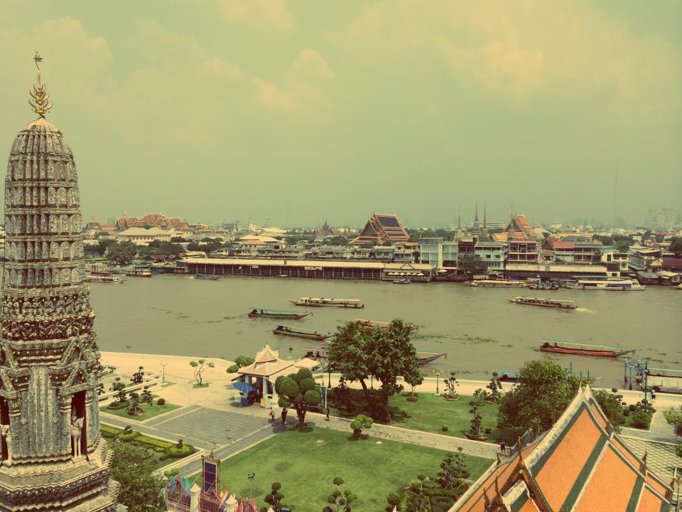 bangkok, thailand, river, water, boats, ships, Asia, architecture, buildings, city