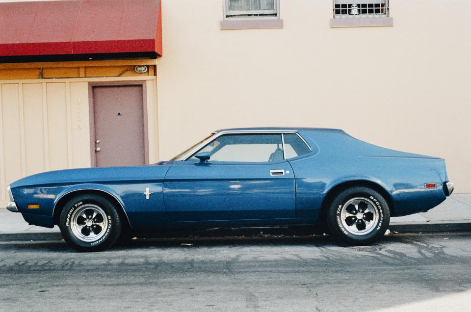 blue, mustang, car, vintage, classic, oldschool, american muscle, wheels, tires, wall, door, street, automotive