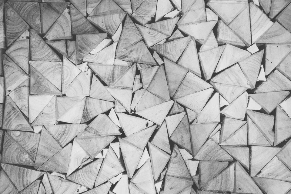 wood, triangles, patterns, black and white