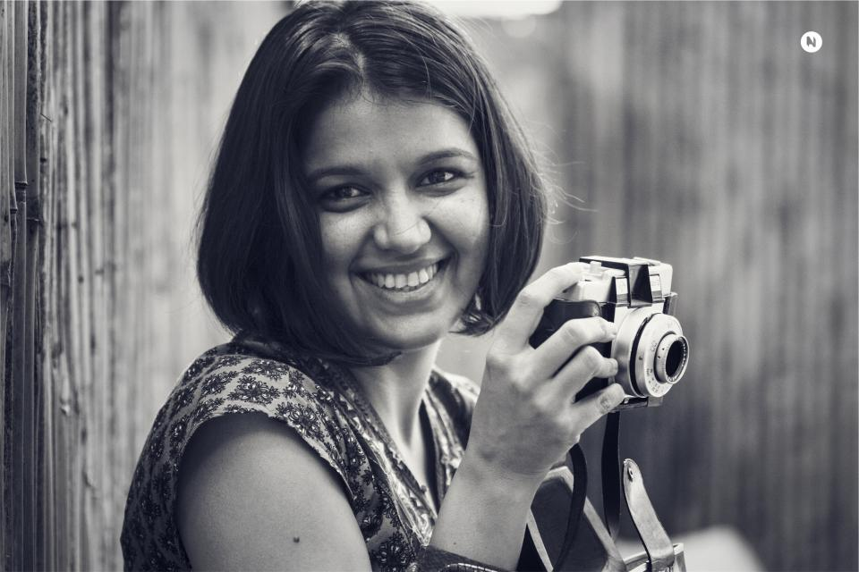 girl, woman, smile, smiling, happy, photographer, camera, lens, slr, black and white, people
