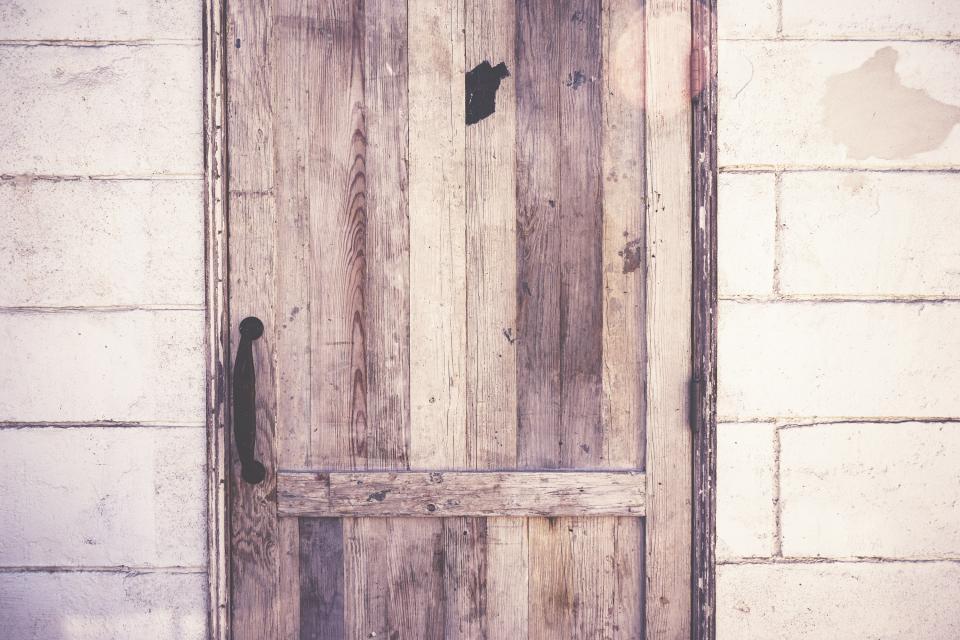 wood, door, handle, wall, concrete, rustic