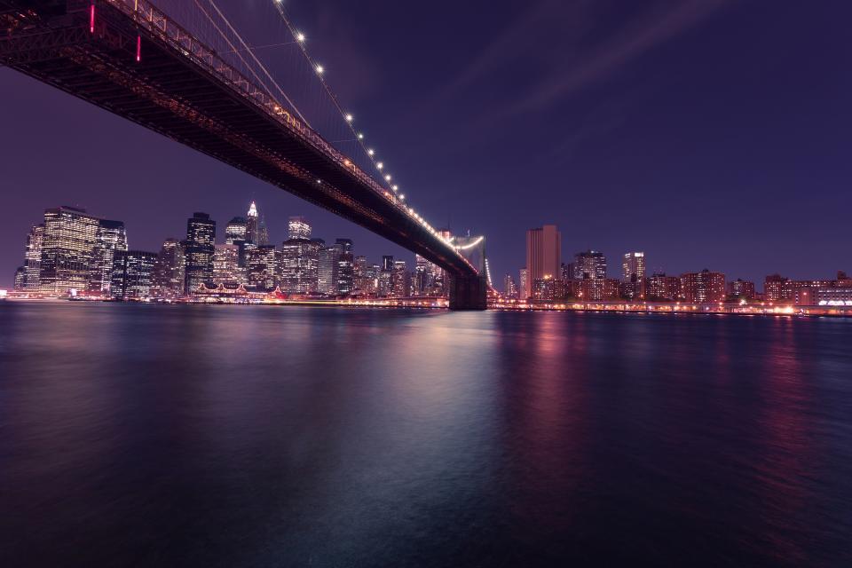 dark, night, purple, lights, bridge, city, skyline, view, buildings, water, architecture, evening