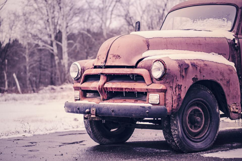 truck, old, vintage, wheels, tires, road, snow, cold, winter