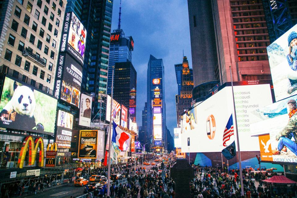 Times Square, New York, city, NYC, crowd, busy, traffic, streets, roads, people, pedestrians, lights, screens, buildings, architecture, downtown, towers, high rises, billboards