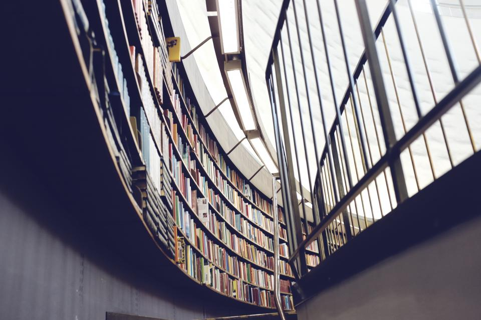 books, library, shelves, lights, railing, building, architecture