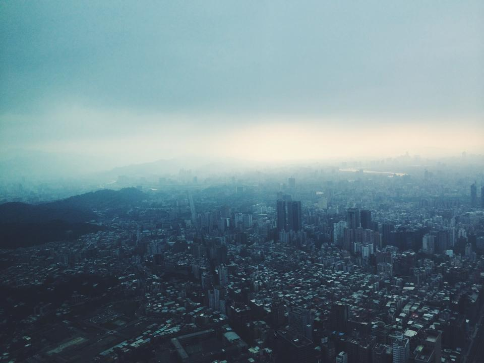 city, aerial, view, buildings, architecture, towers, high rises, urban, sky, fog, cloudy