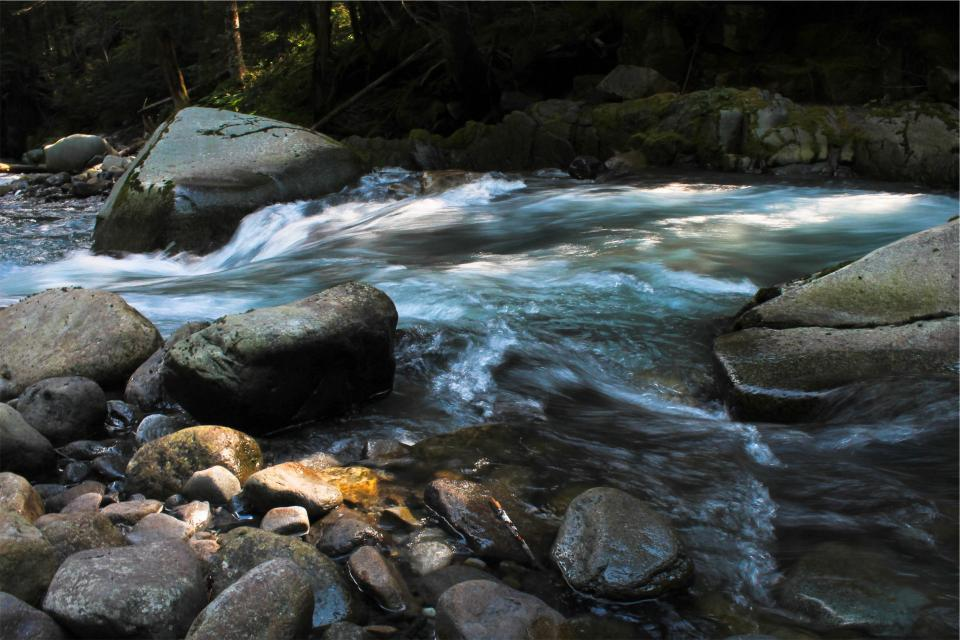 river, stream, water, rocks, boulders, nature