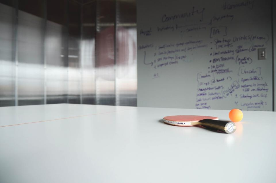 ping pong, racket, ball, table, office, whiteboard, business, startup, notes