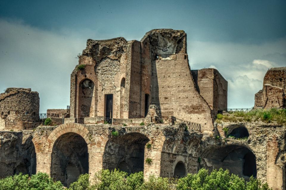 ruins, history, architecture, arches, bricks, concrete, sky, roman