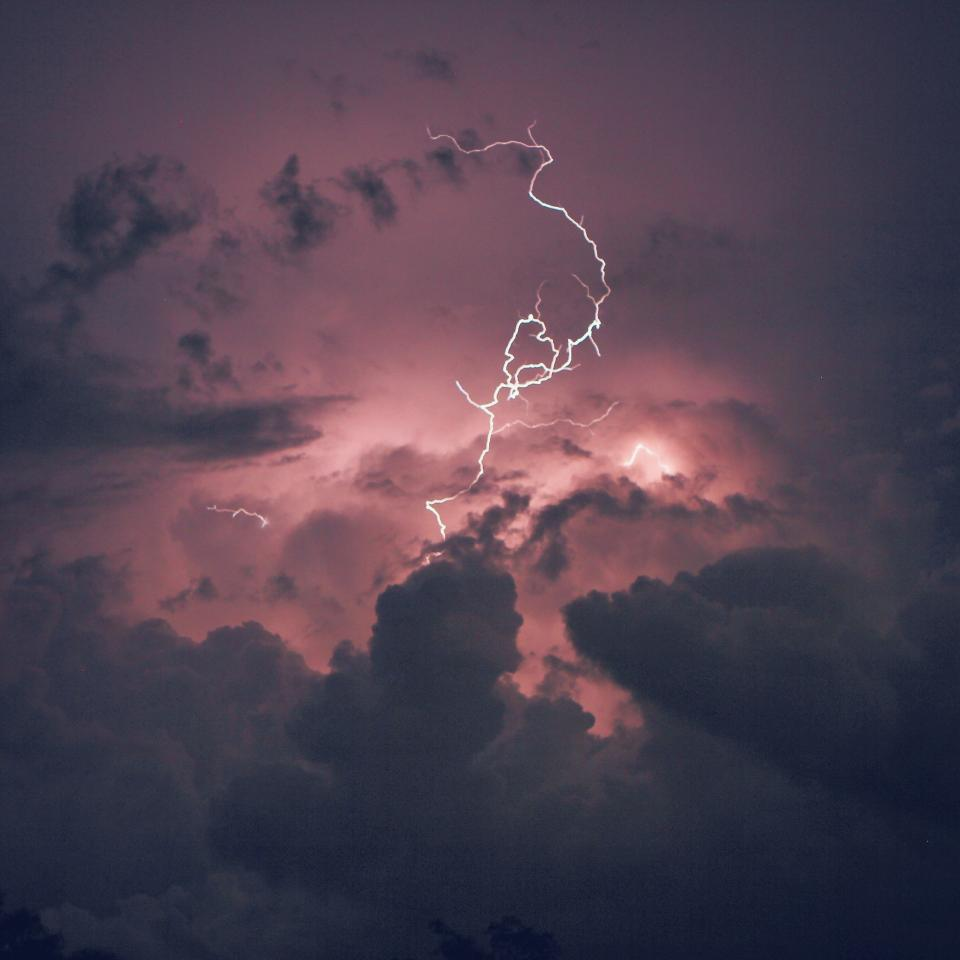 lightning, thunder, storm, purple, clouds, sky