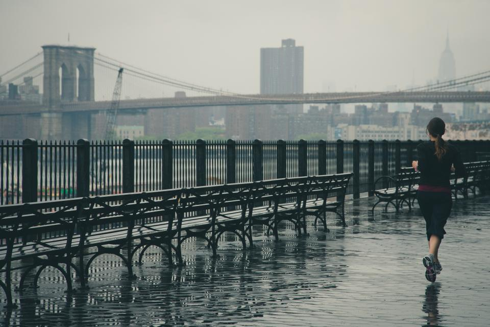 girl, woman, runner, running, fitness, sports, active, fit, bridge, architecture, rain, raining, wet, benches, railings, city, jogging