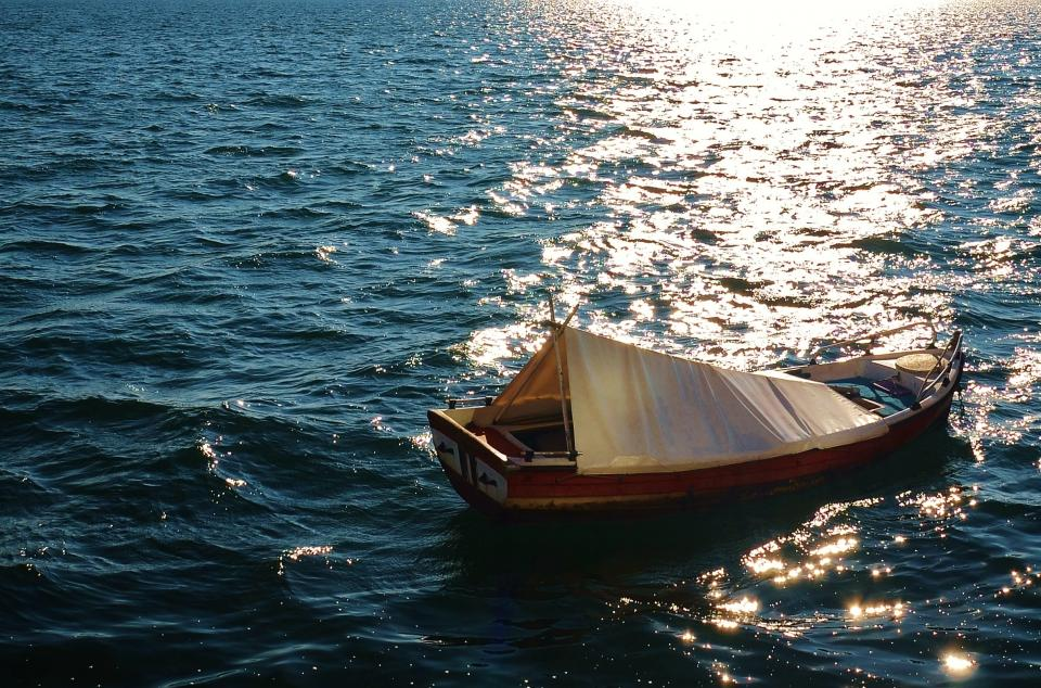 fishing boat, water, ocean, sea, sunshine