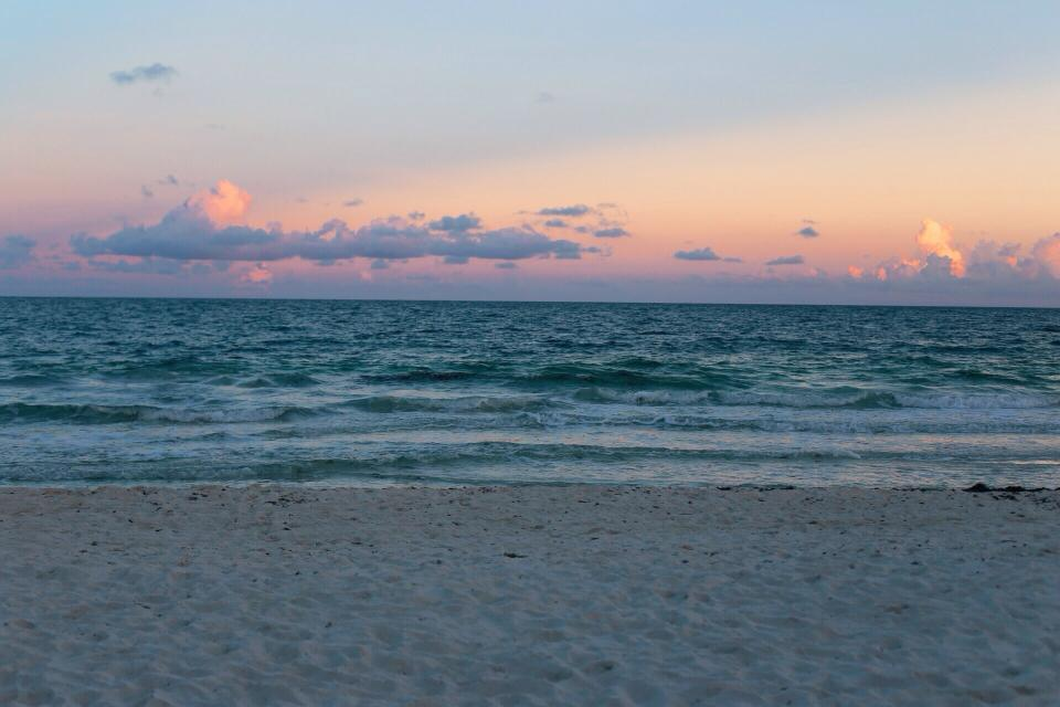sunset, sky, beach, sand, shore, ocean, sea, water