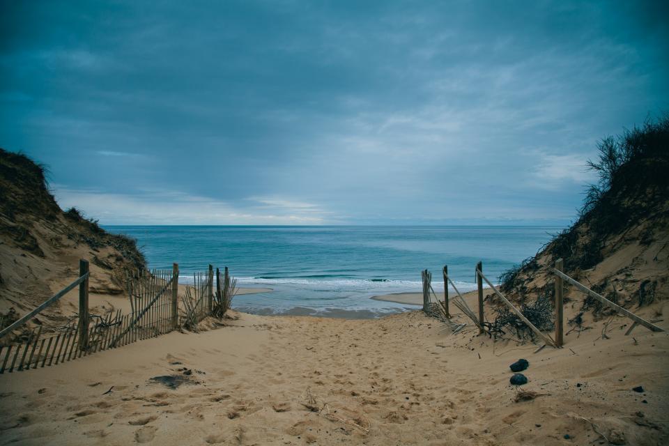 beach, sand, ocean, sea, water, storm, sky, clouds, horizon, nature