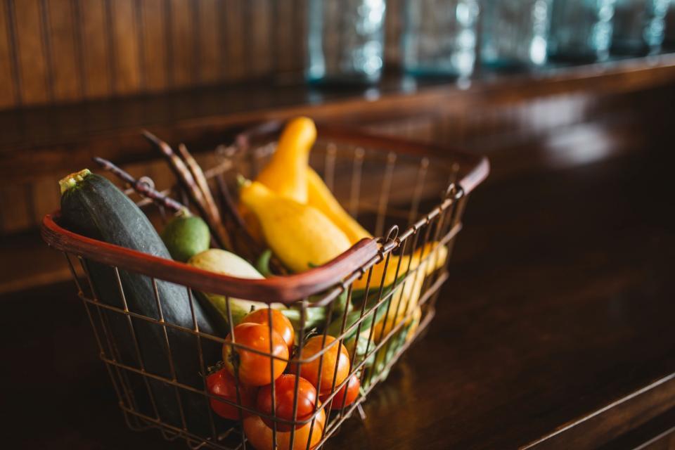 fruits, vegetables, basket, healthy, food