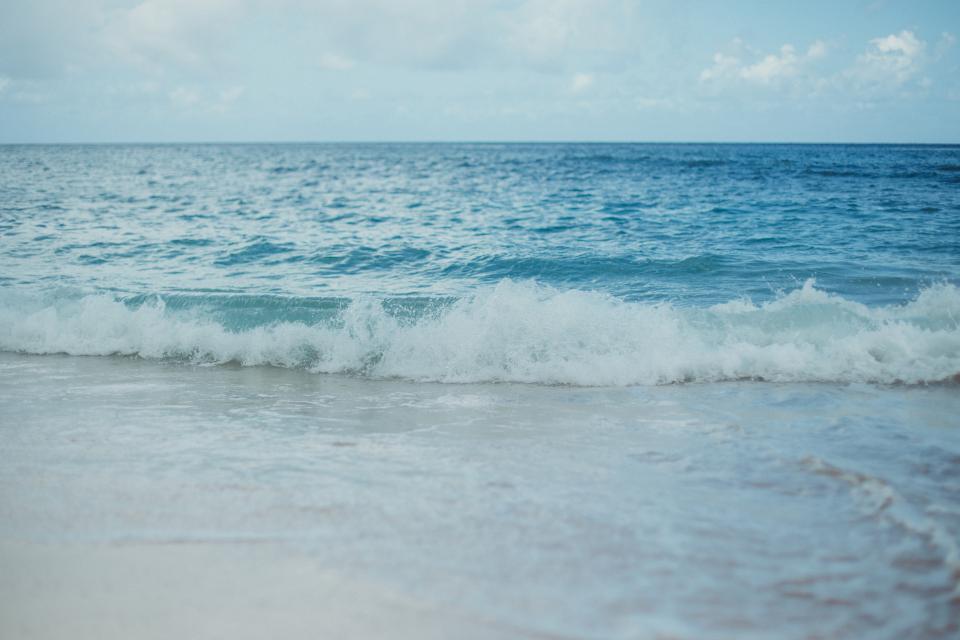 beach, water, waves, shore, ocean, sea, horizon, blue, sky, summer