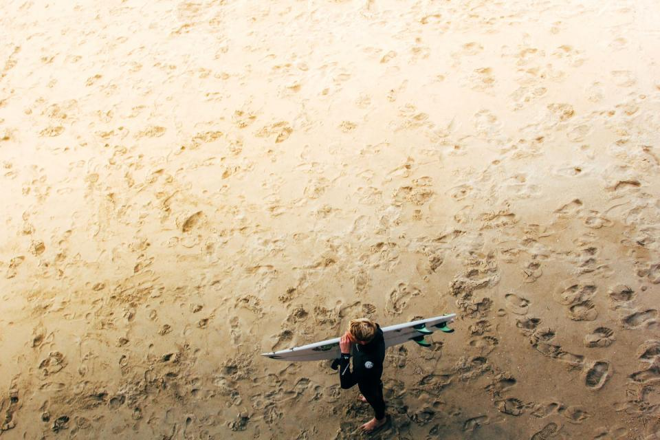 beach, sand, footprints, guy, man, people, surfer, surfboard, summer
