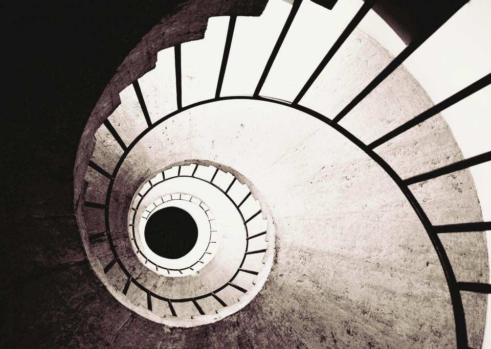 spiral, stairway, staircase, steel, stairs, architecture, black and white