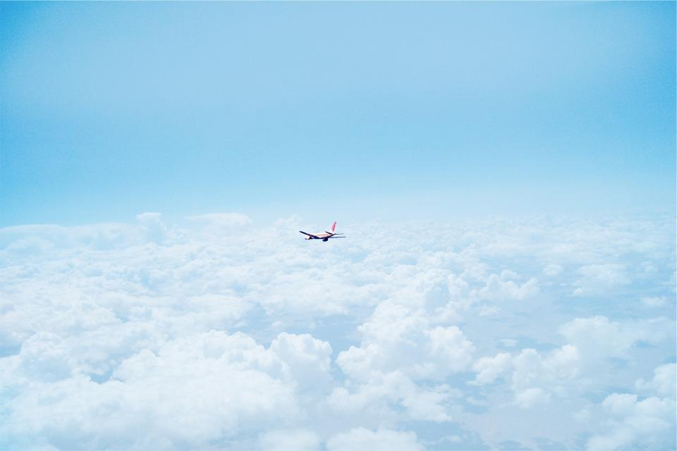 airplane, above the clouds, sky, blue, travel, transportation, flying