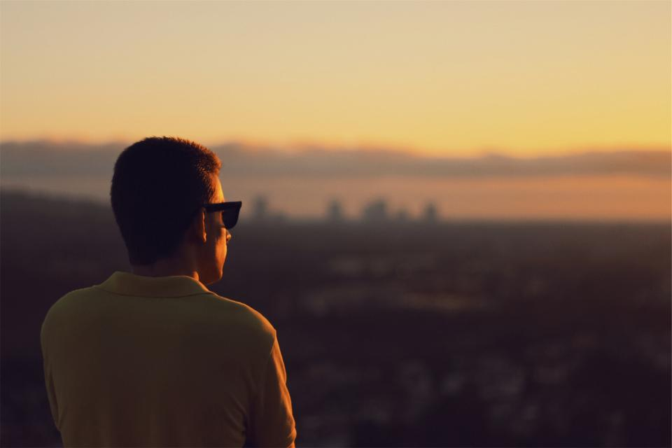 guy, man, looking, sunset, sunglasses, dusk, people