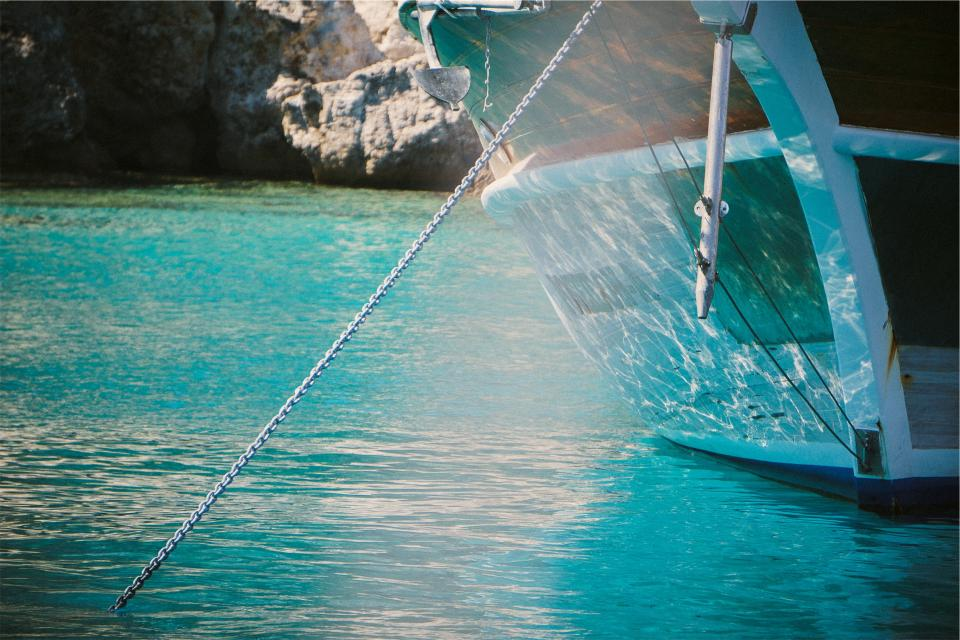 boat, anchor, tropical, water, chain