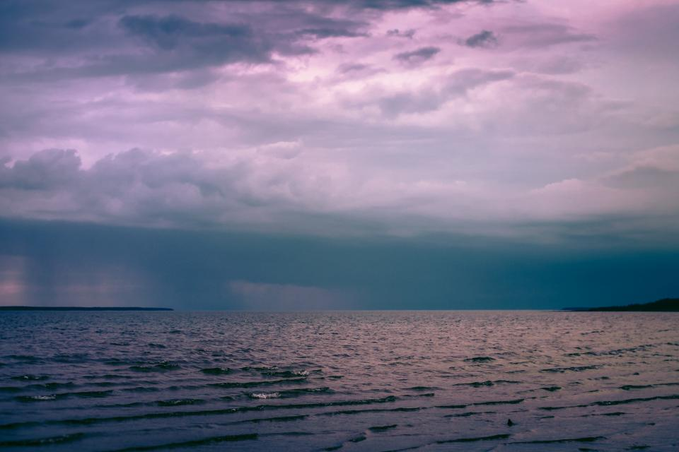 storm, clouds, cloudy, dark, sky, ocean, sea, horizon, water, landscape