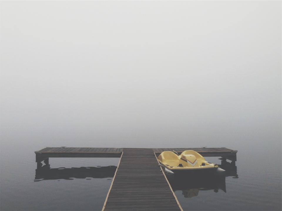 paddle boat, pedal boat, dock, wood, lake, water, cottage, fog, grey