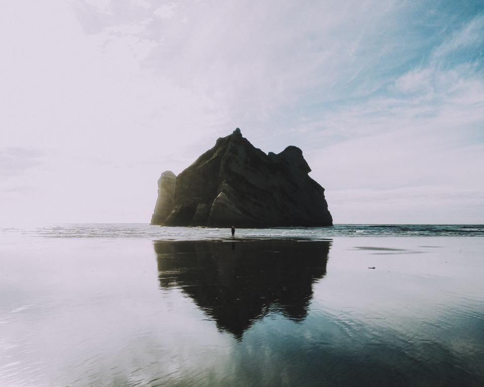 beach, water, reflection, ocean, sea, rocks, island, cliffs, sky, clouds, nature